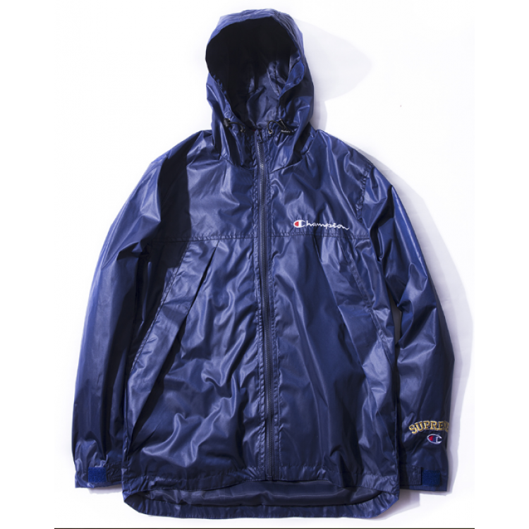 Supreme Champion Title Zipper Hooded Windbreaker Jacket (Blue)