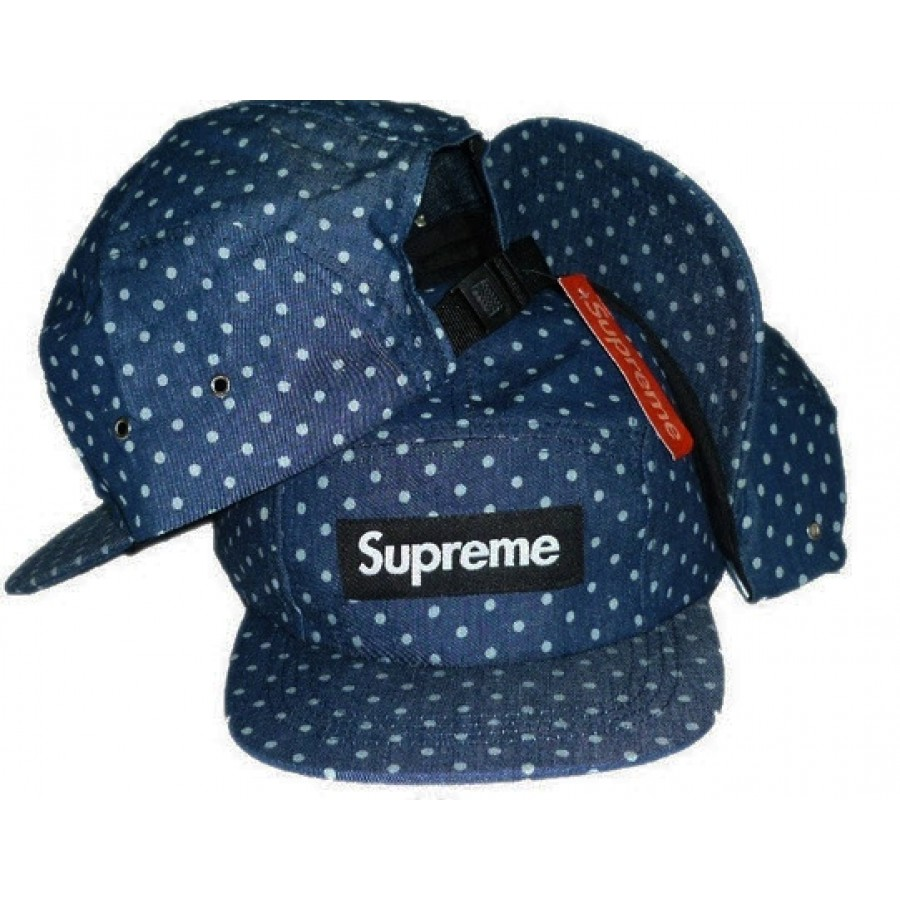 "Supreme ""Denim Polka Messenger"" Strapback Hat (Blue)"