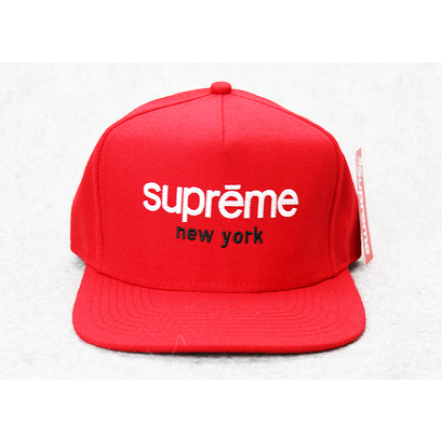 Supreme NY Box Panel Snapback Hat (Red)
