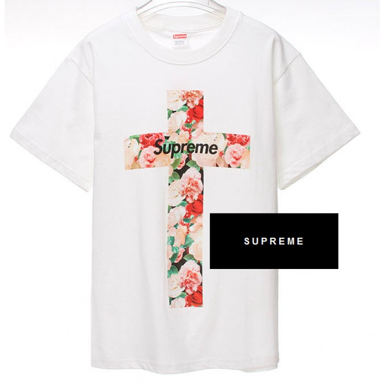 Supreme NYC Floral Cross T-shirt (White)