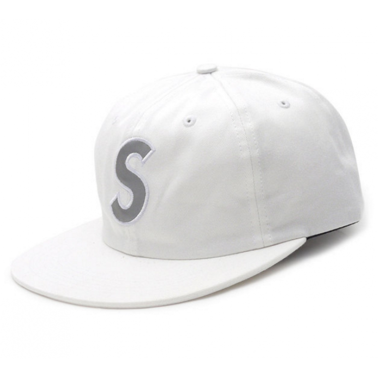 Supreme Reflective S Logo 6Panel Hat (White)