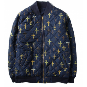 Supreme NYC All Over Cross Zip Up Jacket (Navy)