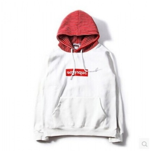 Supreme Box Logo Skate CDG Hoodie (White/Red)