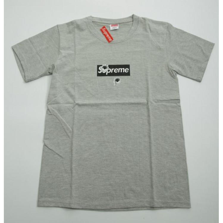 Supreme Box Logo Bullet Holes T-Shirt (Gray)