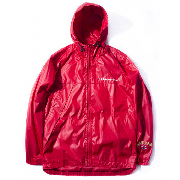 Supreme Champion Title Zipper Hooded Windbreaker Jacket (Red)