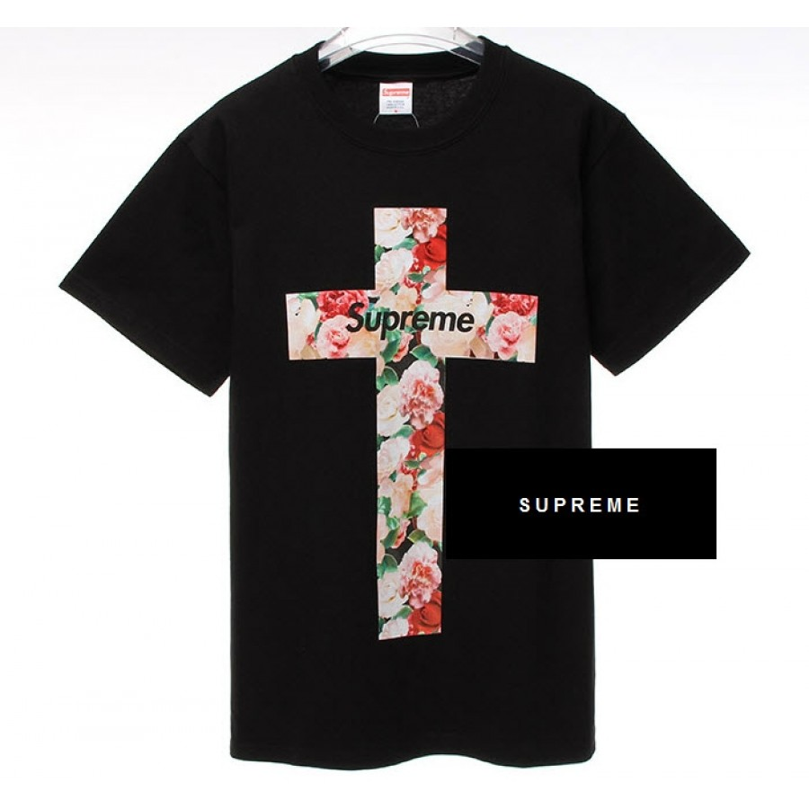 "Supreme ""NYC Floral Cross"" T-Shirt (Black)"