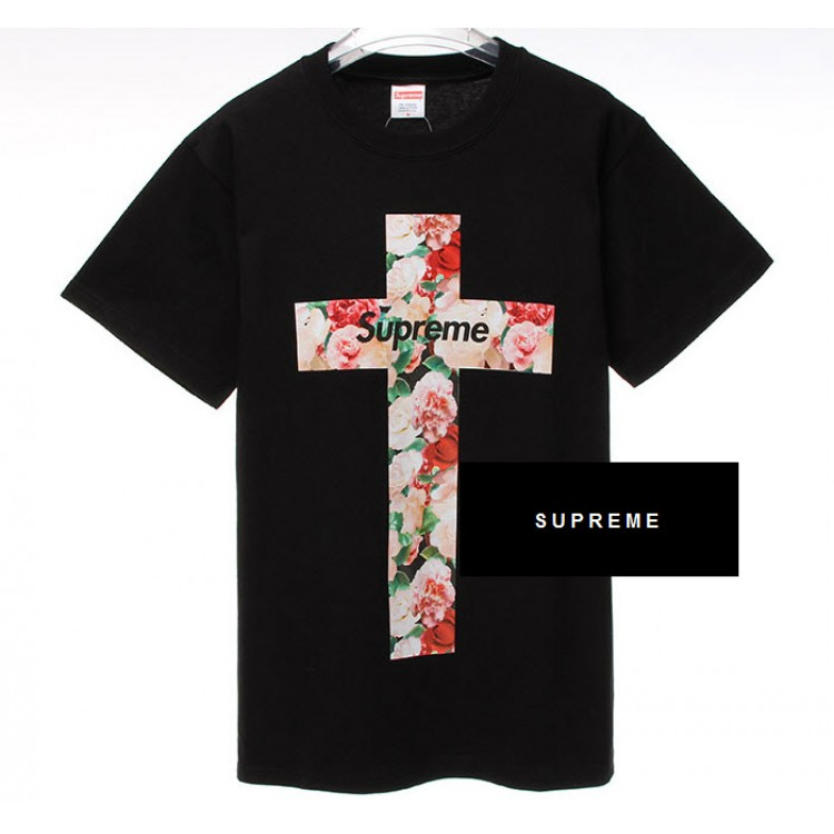 Supreme NYC Floral Cross T-shirt (Black)