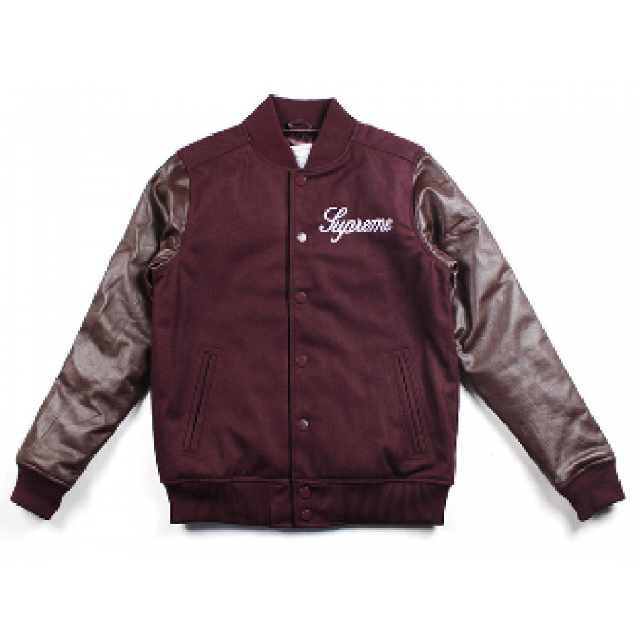 Supreme Team Baseball Jacket (Wine/Red)