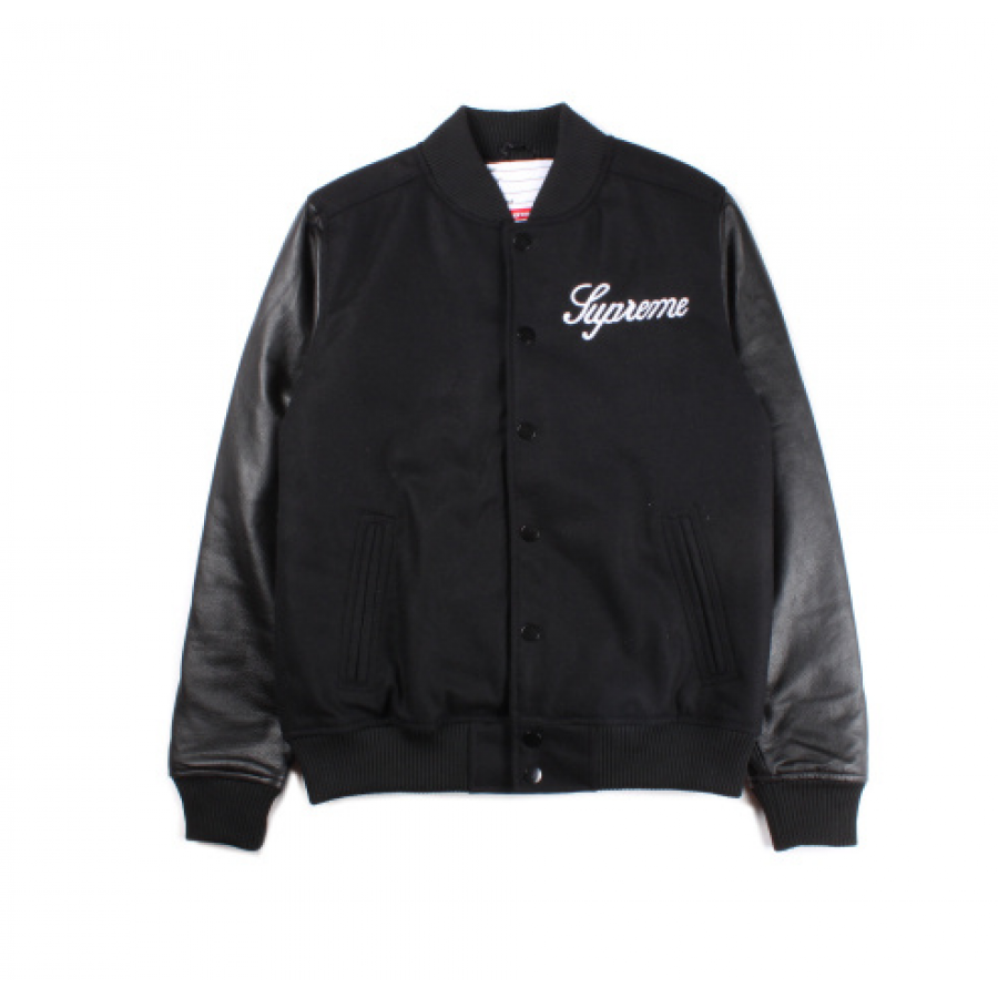 Supreme Team Button Up Varsity Jacket (Black)