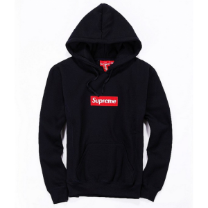 Supreme Red Box Logo Classic Hoodie (Black)