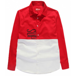 Supreme Vertical Panel Button Up Shirt (Red/White)